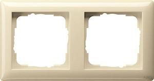 Gira 021201 Abdeckrahmen 2fach Standard 55 Cremeweiß glänzend