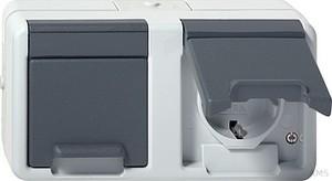 Gira 078130 Doppelsteckdose waagerecht wassergeschützt Aufputz Grau