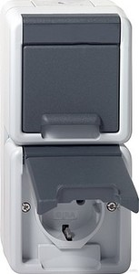 Gira 078030 Doppelsteckdose senkrecht wassergeschützt Aufputz Grau