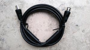 Antennen-Anschlusskabel mit Absorber 1,8 Meter doppelt abgeschirmt Koax Stecker + Koax Kupplung 75 Ohm Schirmungsmaß > 95dB