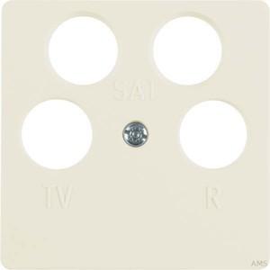 Berker Zentralplatte cremeweiß (ws) für 4Loch Antennendose 148402