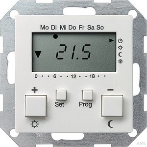 Gira 237027 Raumtemperaturregler 230 V mit Uhr System 55 Reinweiß matt