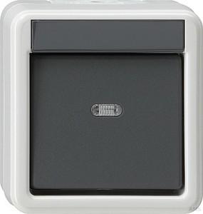 gira 044031 schuko steckdose mit beschriftungsfeld bajonett wasserdicht aufputz grau. Black Bedroom Furniture Sets. Home Design Ideas