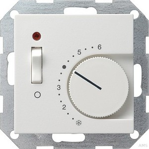 Gira 039227 Raumtemperaturregler 230 V mit Öffner+Schalter System 55 Reinweiß matt