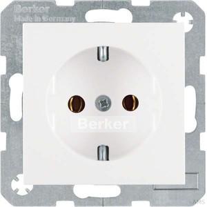 Berker SCHUKO-Steckdose polarweiß/glänzend mit Steckklemmen 47438989