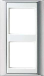 Jung Rahmen 2-fach aluminium alpinweiß (aws) waage/senkrecht AP 582 AL WW