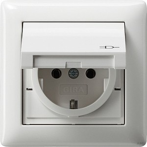 Gira 115703 SCHUKO Steckdose mit Klappdeckel Rahmen 1fach IP44 Standard 55 Reinweiß glänzend