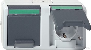Gira 078430 Doppelsteckdose ammoniak mit Beschriftungsfeld waage wassergeschützt Aufputz Grau