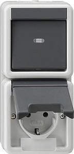 Gira 017630 Kombination senkrecht SCHUKO Wechsel wassergeschützt Aufputz Grau