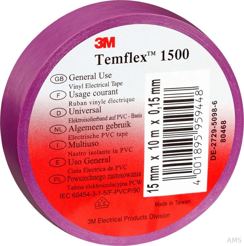 3M Elektroisolierband 15mm x10m violett TemFlex 1500 15x10vi