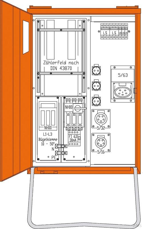 Walther Anschlussverteiler 1x63/1x32/1x16/3xS WAV0160