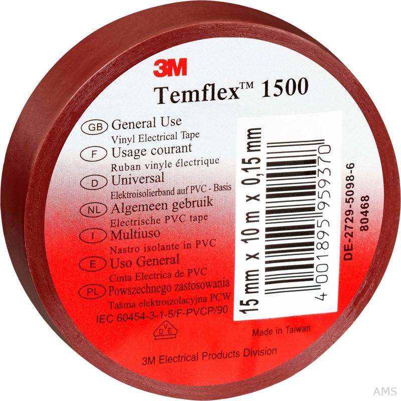 3M Elektroisolierband 15mm x10m braun TemFlex 1500 15x10br