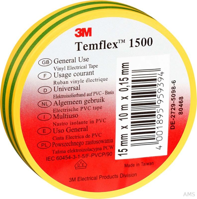 3M Elektroisolierband 15mm x10m gn/ge TemFlex 1500 15x10gg