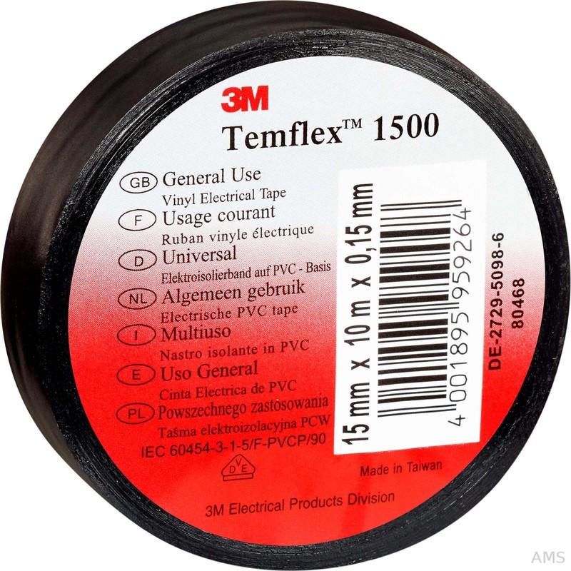 3M Elektroisolierband 15mm x10m schwarz TemFlex 1500 15x10sw