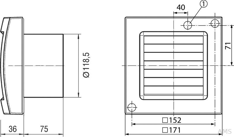 maico ventilator 19w 180cbm h ip34 eca 120 k. Black Bedroom Furniture Sets. Home Design Ideas