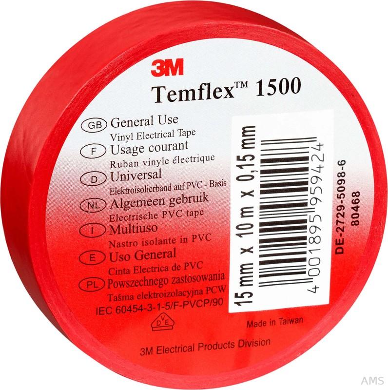3M Elektroisolierband 15mm x25m rot TemFlex 1500 15x25rt (100 Stück)