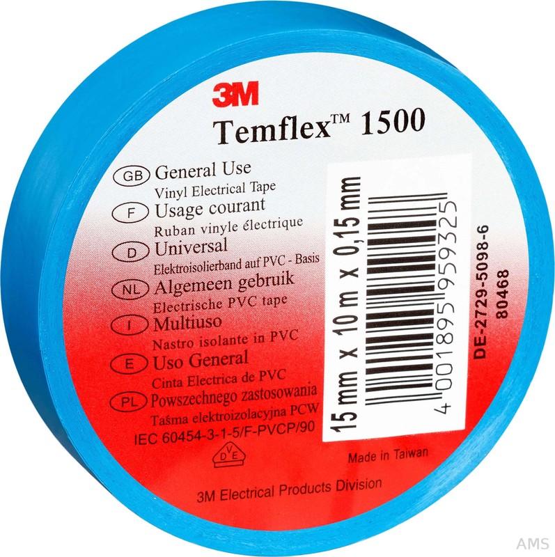 3M Elektroisolierband 19mm x25m blau TemFlex 1500 19x25bl