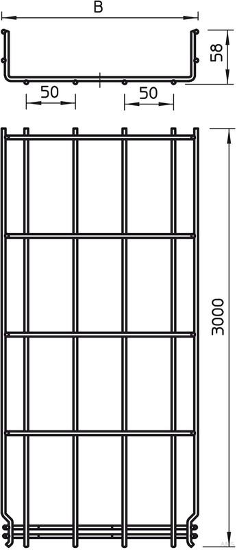 obo bettermann gitterkabelrinne 55x100x3000mm grm 55 100 g. Black Bedroom Furniture Sets. Home Design Ideas