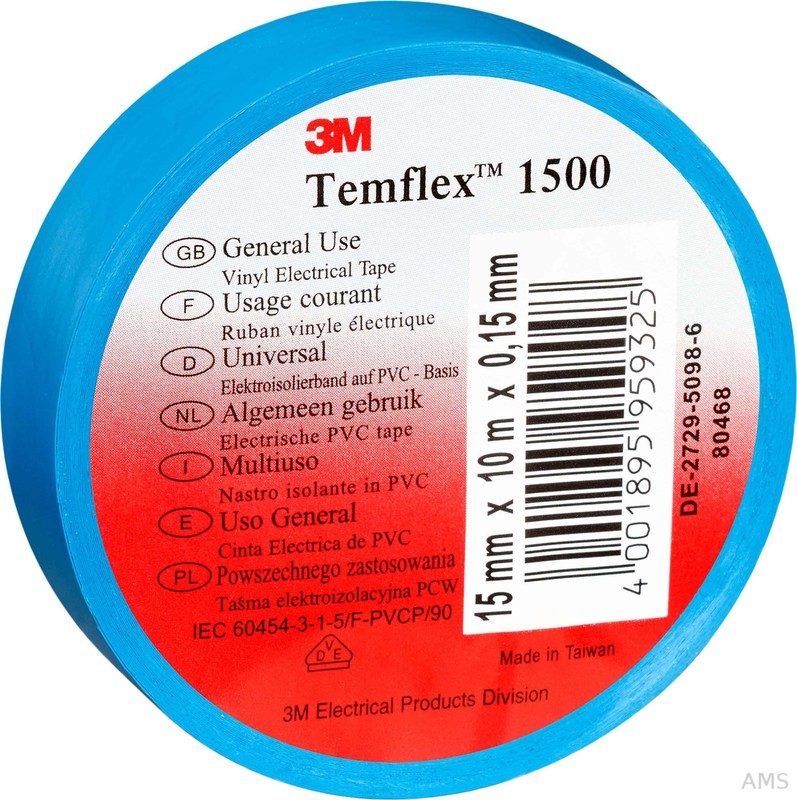 3M Elektroisolierband 15mm x25m blau TemFlex 1500 15x25bl (100 Stück)