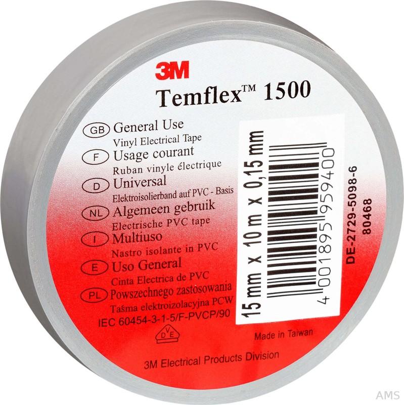 3M Elektroisolierband 15mm x25m grau TemFlex 1500 15x25gr (100 Stück)