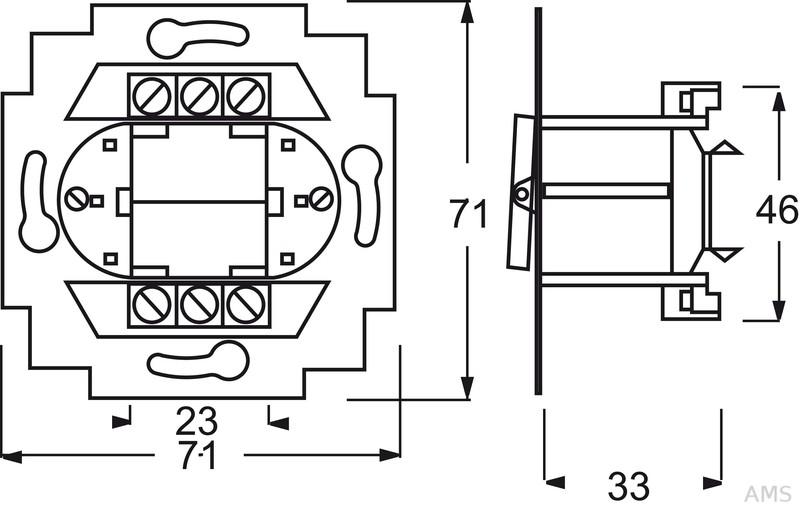 Busch-Jaeger Wechselschalter-Einsatz 2polig 2000/6/2 US
