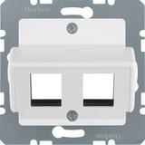Berker Zentralplatte polarweiß (pws) für Krone Modular-Jack 146409