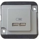 Merten USB-Ladestation mattsilber, PANZER MEG4366-7060
