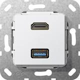 Gira 567803 HDMI, USB 3.0 A Gender Changer Einsatz Reinweiß