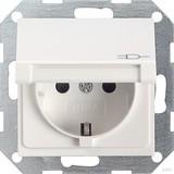 Gira 041403 SCHUKO Steckdose mit Kinderschutz und Klappdeckel System 55 Reinweiß glänzend