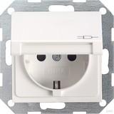 Gira 045403 SCHUKO Steckdose mit Klappdeckel System 55 Reinweiß glänzend