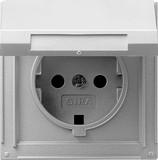 Gira 045465 SCHUKO Steckdose mit Klappdeckel TX_44 (wassergeschützt unterputz) Farbe Alu