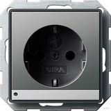Gira 117020 SCHUKO Steckdose mit Kinderschutz LED Beleuchtung E22 Farbe Edelstahl glänzend