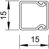 OBO Bettermann Wand+Deckenkanal mit Obert. 15x15mm,PVC WDK15015RW (2 Meter)