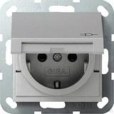 Gira 041426 SCHUKO Steckdose mit Kinderschutz und Klappdeckel System 55 Farbe Alu