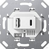 Gira USB-Spannungsversorgung 2-fach TypA/C Einsatz cremeweiß (ws) 234900