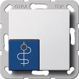 Gira Arztruftaster blau System 55 Reinweiß 290503