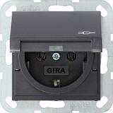 Gira 045428 SCHUKO Steckdose mit Klappdeckel System 55 Anthrazit