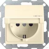 Gira 045401 SCHUKO Steckdose mit Klappdeckel System 55 Cremeweiß glänzend