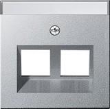 Gira 264026 Abdeckung mit Beschriftungsfeld Modular Jack 30° 2fach System 55 Farbe Alu