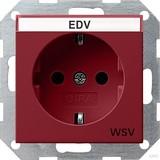 Gira 047402 SCHUKO Steckdose mit Beschriftungsfeld WSV System 55 Rot glänzend