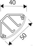 HKL EckKanal cremeweiß (cws) EDK-Kanal 40x50 EDK50.6 (2 Meter)