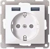 Merten SCHUKO-Steckdose mit USB Ladegerät polarweiß (pws) MEG2366-0319