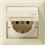 Gira 115701 SCHUKO Steckdose mit Klappdeckel Rahmen 1fach IP44 Standard 55 Cremeweiß glänzend