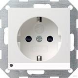 Gira 117027 SCHUKO Steckdose mit erhöhtem Berührungsschutz LED Beleuchtung System 55 Reinweiß matt