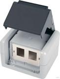 Telegärtner AP-Gehäu. IP44,75x86x58,gr für 2xAMJ-Modul H02000A0070