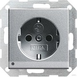 Gira 117026 SCHUKO Steckdose mit Kinderschutz LED Beleuchtung System 55 Farbe Alu