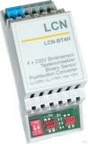 LCN Tasten-/Binärsensor 4-fach 230V für Hutschi. LCN-BT4H
