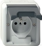 Gira 048530 Steckdose Erdstift mit erhöhtem Berührungsschutz wassergeschützt Aufputz Grau