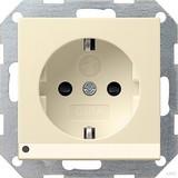 Gira 117001 SCHUKO Steckdose mit Kinderschutz LED Beleuchtung System 55 Cremeweiß glänzend